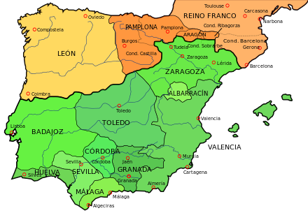 Mapa Reinos de Taifas 1030
