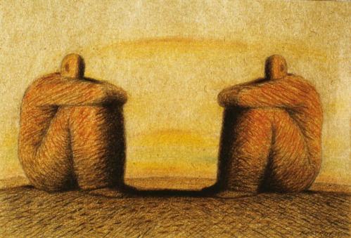 Two Seated Men Looking at Each Other --- Image by © Images.com/Corbis